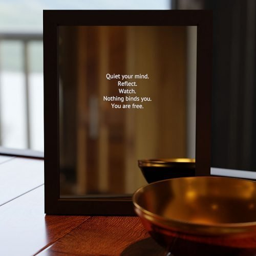The Contemplative Smart Mirror Shown on a table