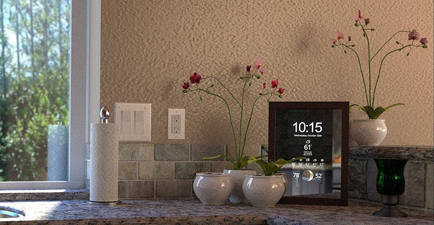 Smart Mirror weather display in kitchen closeup
