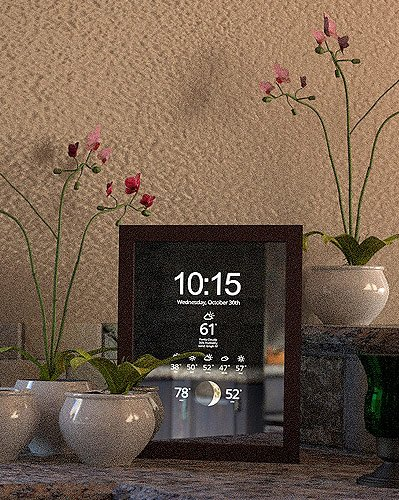 smart mirror with flowers closeup