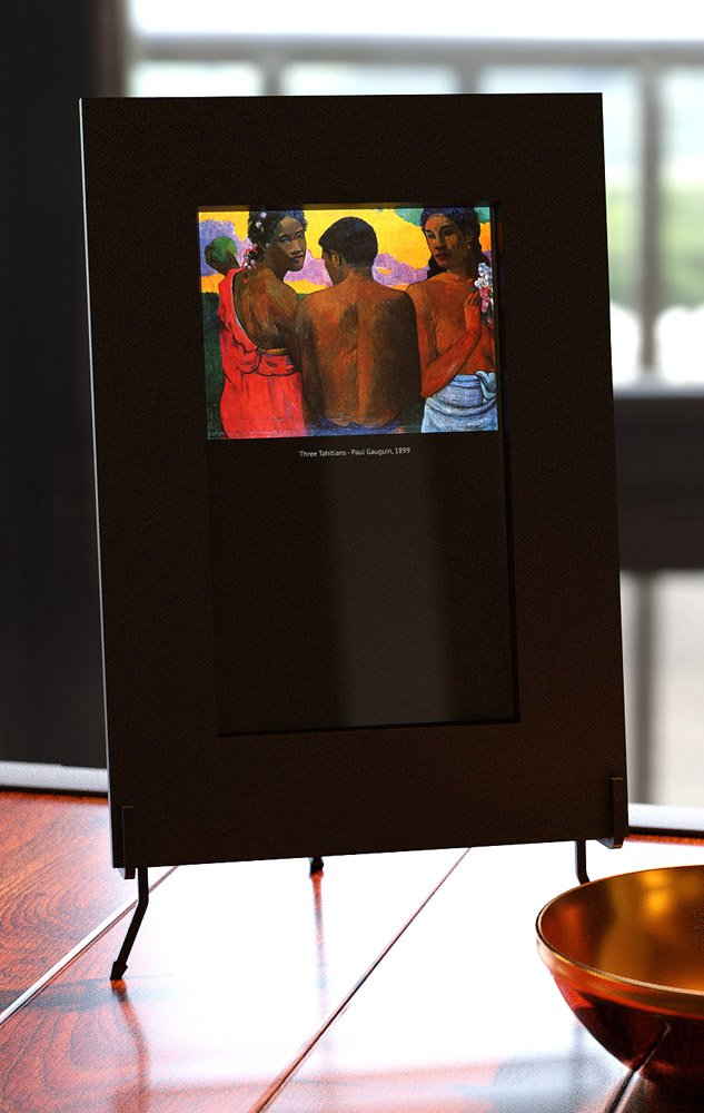 Smart mirror with gauguin painting three tahitains
