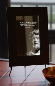 smart mirror with marcus aurelius quote