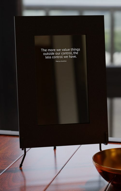 smart mirror with text only display